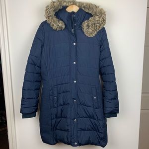 Abercrombie & Fitch Navy Blue Puffer Coat